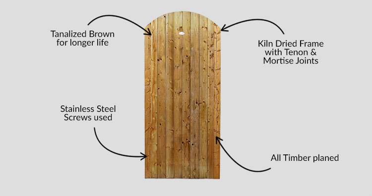 Curved Pennine Elite Garden T&G Gate - Tanalized Brown