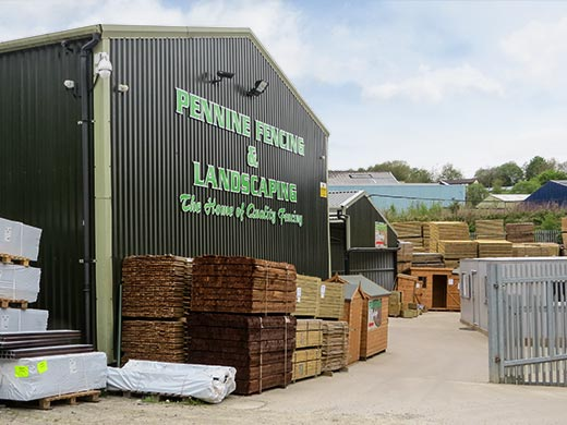View from the top yard of Pennine Fencing's premises