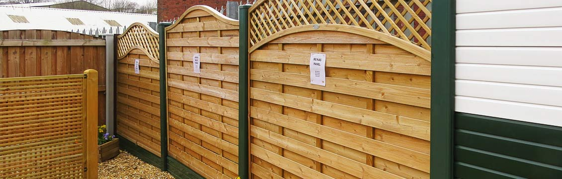 Part of the fence panel display area at Pennine Fencing & Landscaping