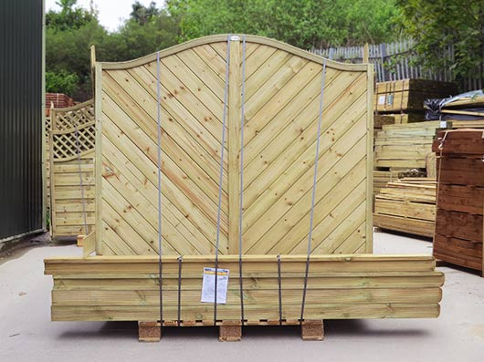 Continental Panels and posts on a pallet ready for courier delivery