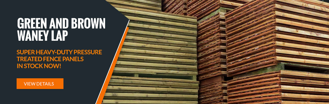 Super heavy duty pressure treated Waney Lap Panels - in stock now!