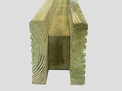 Fence Post Extension Tanalized Green - U Profile - Tanalized Green Fence Post Extension - U profile base