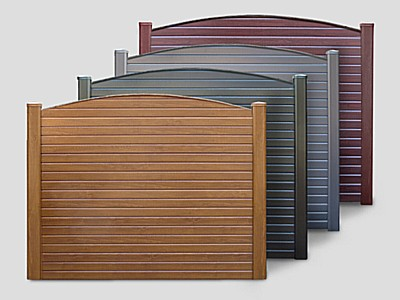 Woodgrain (Plastic) PVC Gravel Board Curved Top Section - Curved Top On A Complete Panel