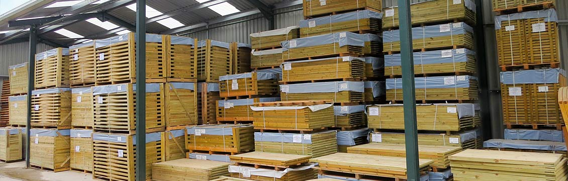 Continental Fence Panels in Pennine Fencing's Warehouse