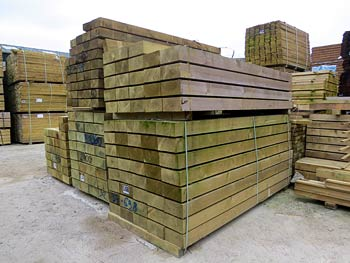 Timber Sleepers and Boards in our Storage Yard